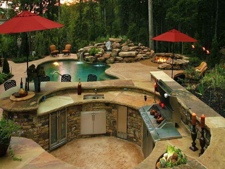 Curved grill patio design
