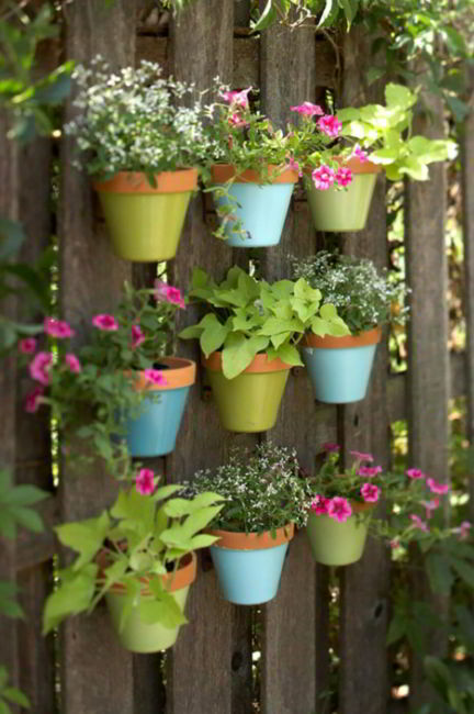 Cute Rustic Fencing with Colorful Pots
