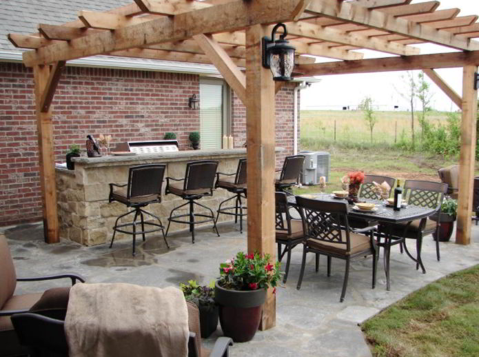 Stone Built Grill Patio
