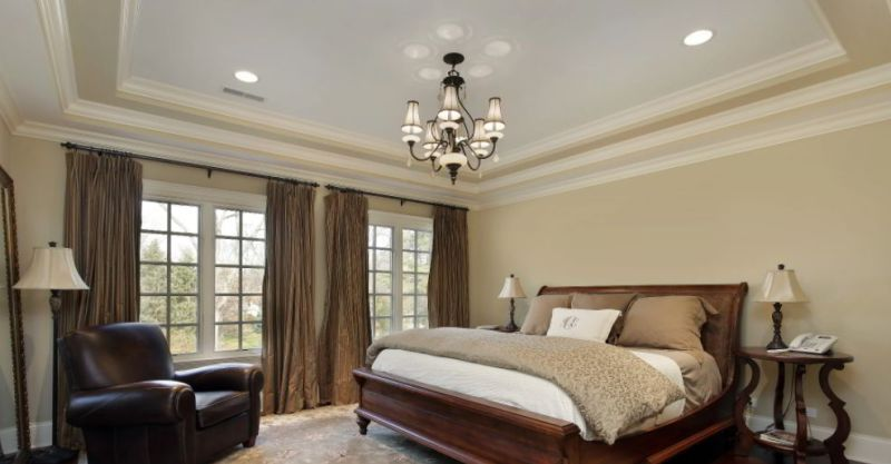 Tray Ceiling with Decorative Hanging Lamp