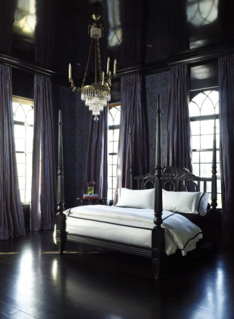 Middle-Age Gothic Bedroom with Four-Poster Bed
