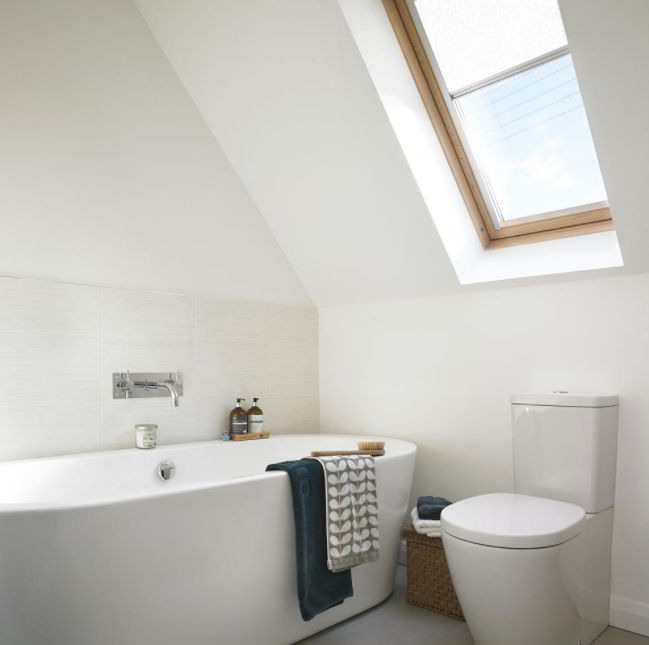 Attic Bathroom with Sloped Ceiling