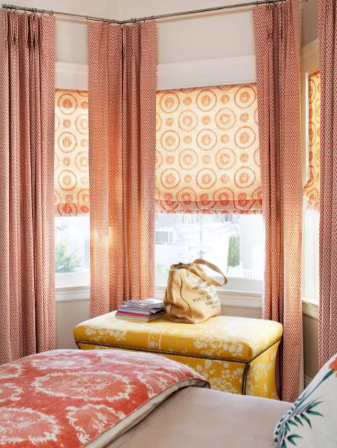 Warm-Colored Window Treatment for Bedroom