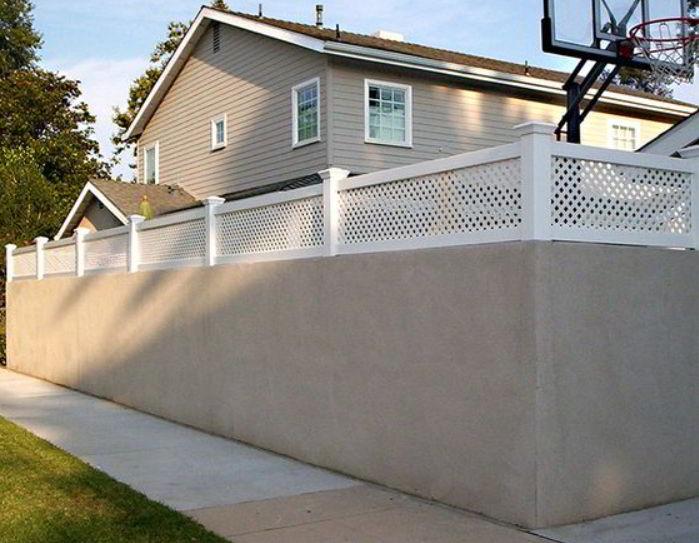 Concrete And Vinyl Fence