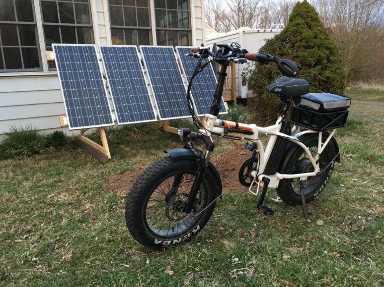 Solar-Powered Electric Bicycle Charger