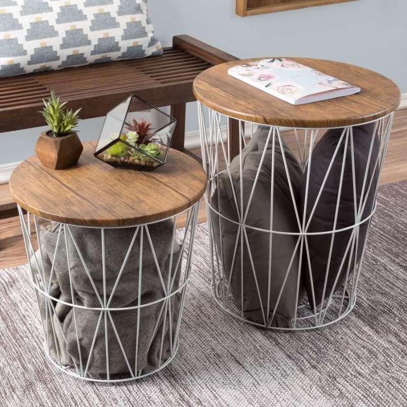 Wood-Top Wire Blanket Basket