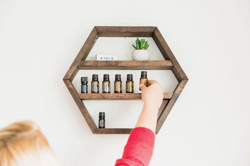 Wooden hexagonal shelf
