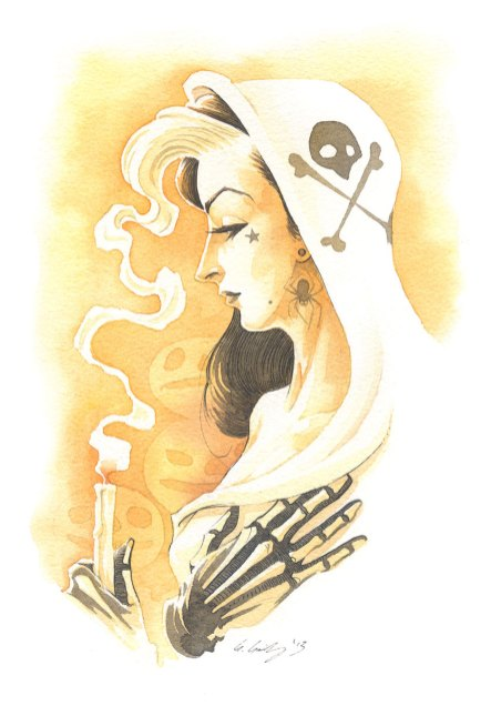 GHOST WOMAN halloween girl gris grimly