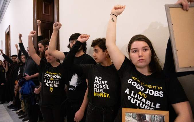 Climate Activists Protest At Mitch McConnell Office In Washington