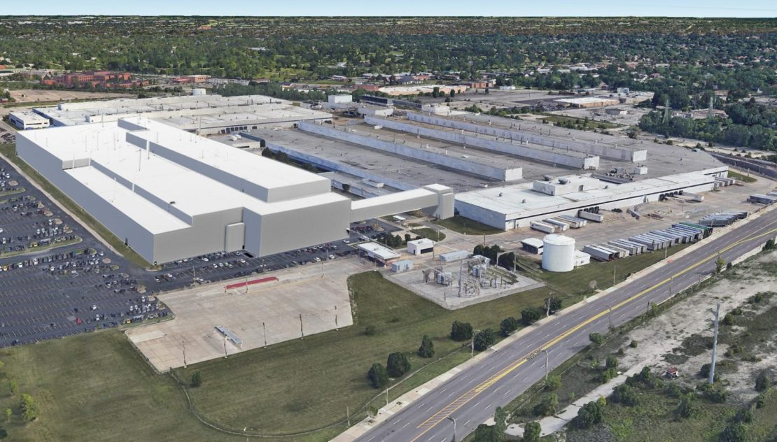 Aerial view of Stellantis's Mack Avenue Assembly Complex