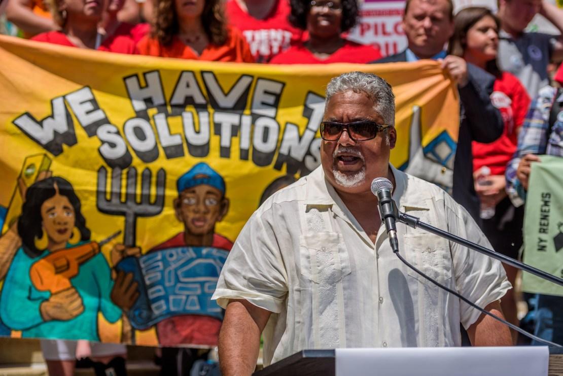Environmental justice leader eddie bautista gives a speech