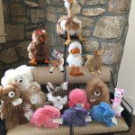 Easter animals displayed on shelves