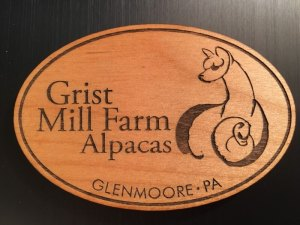 Grist Mill Farm Alpacas Branded oval wooden magnet