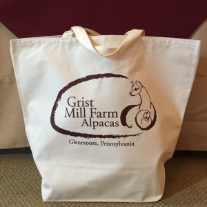 Grist Mill Farm Alpacas branded reuseable shopping tote