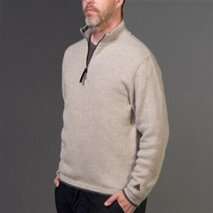 male model wearing mens quarter alpaca sweater oat MS446-4T