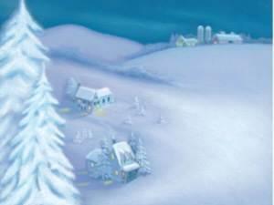 houses in a snowy field