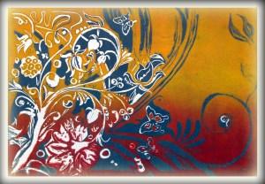 Floraler Linolschnitt