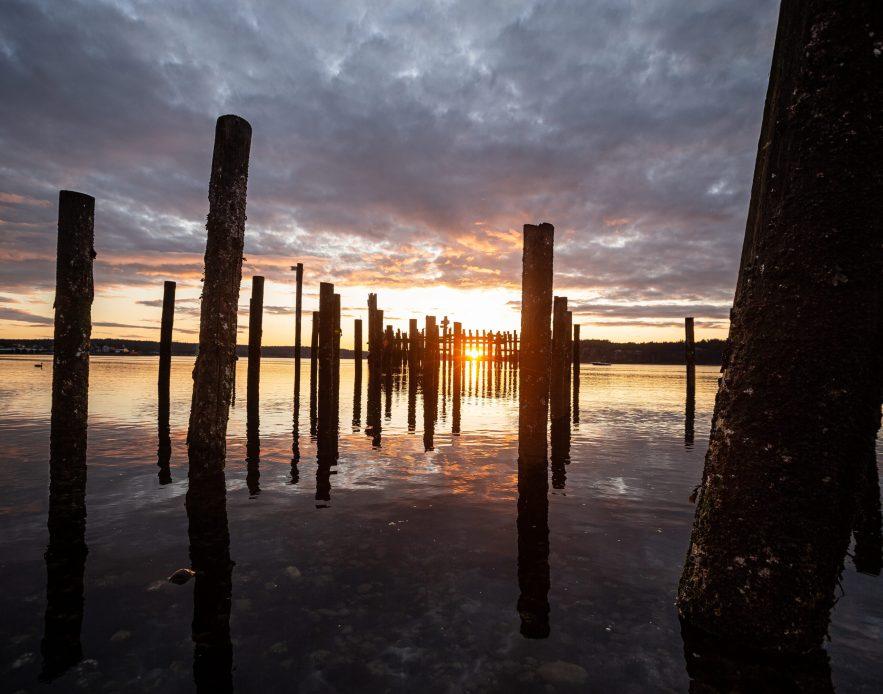 Titlow Pilings at Sunset