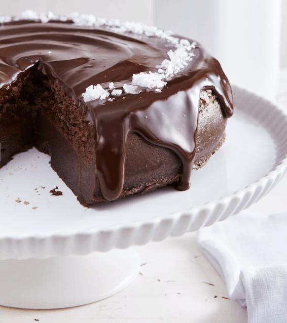 Salted Dark Chocolate Magic Cake Sliced