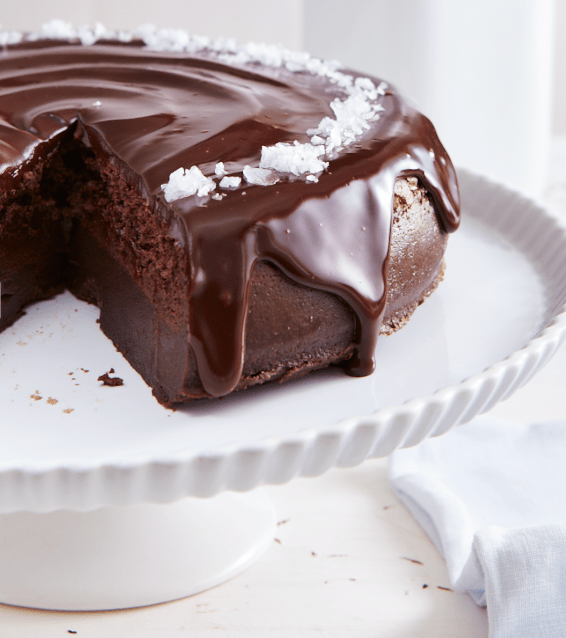 Salted Dark Chocolate Magic Cake Sliced