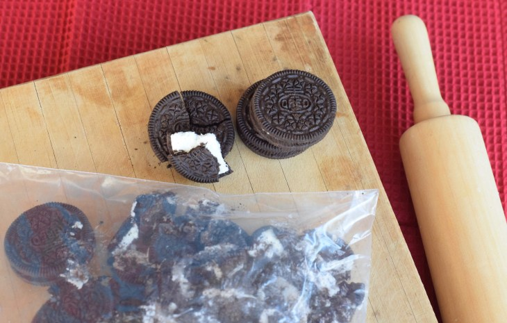 Cookies 'n Cream White Chocolate Fudge. Crush Oreo cookies with a rolling pin in a zip top bag