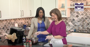 Kathleen Phillips on Talk of Alabama cooking Indian Spiced Sweet Potato Fries in air fryer