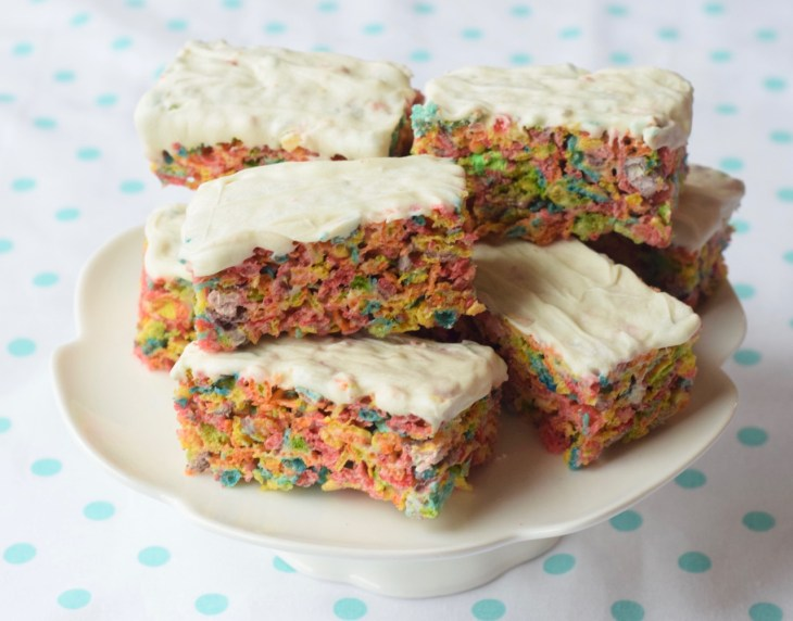 Fruity Pebbles make the perfect pastel fruit-flavored treat for Easter or a Spring shower! They will remind you of Rice Krispy treats.
