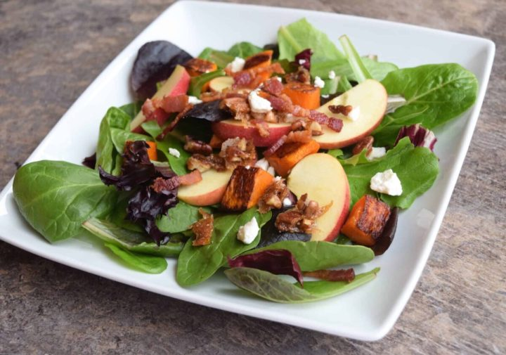 Apple and Roasted Butternut Squash Salad on a white plate