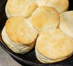 Biscuits close up in cast iron skillet
