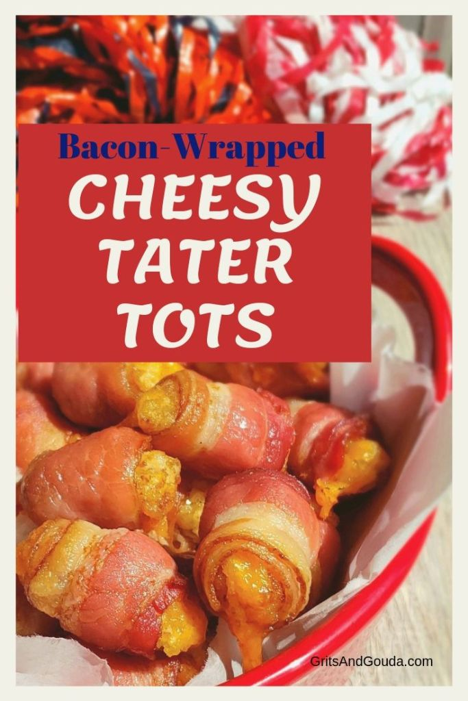Bacon Wrapped Cheesy Tater Tots. You might want to just go ahead and take the recipe with you to the Christmas party or football party-they're going to ask you for it! Pinterest pin