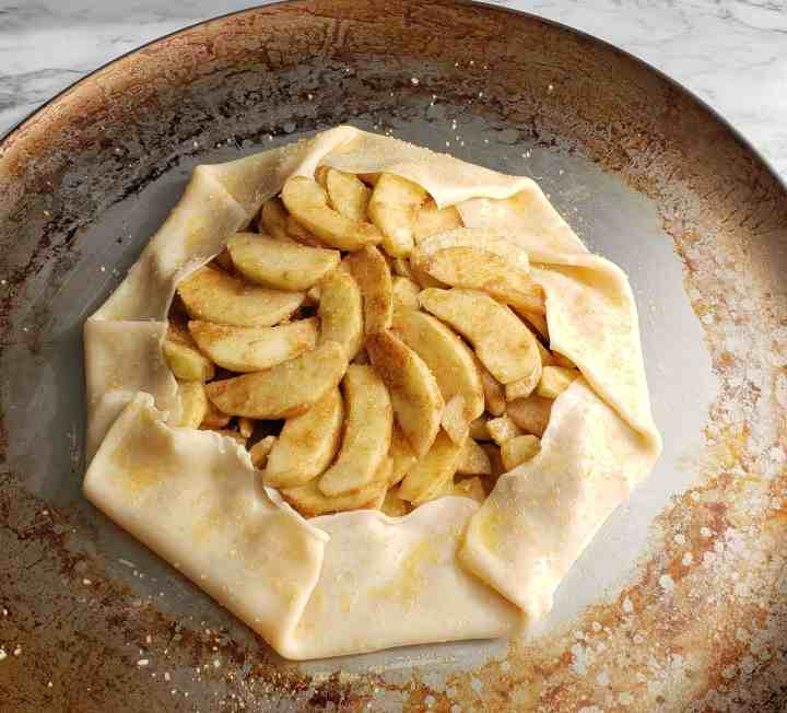 Apple galette brushed with egg wash and sugar