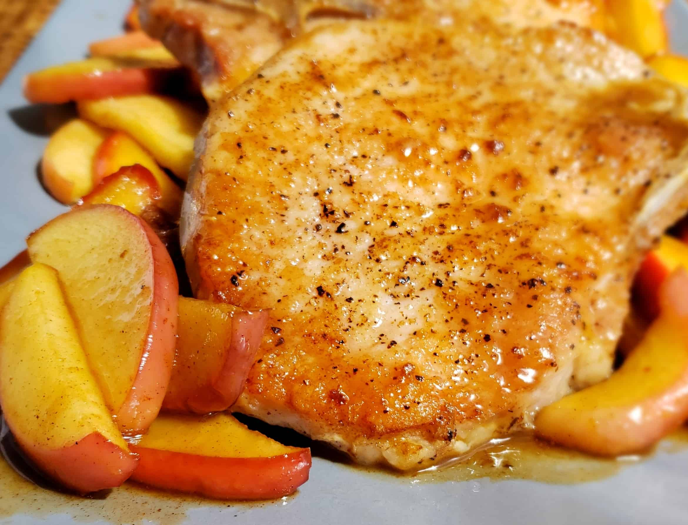 Pan Seared Pork Chops close up front view