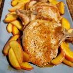 Pan Seared Pork Chops sauce on chop Apples on platter