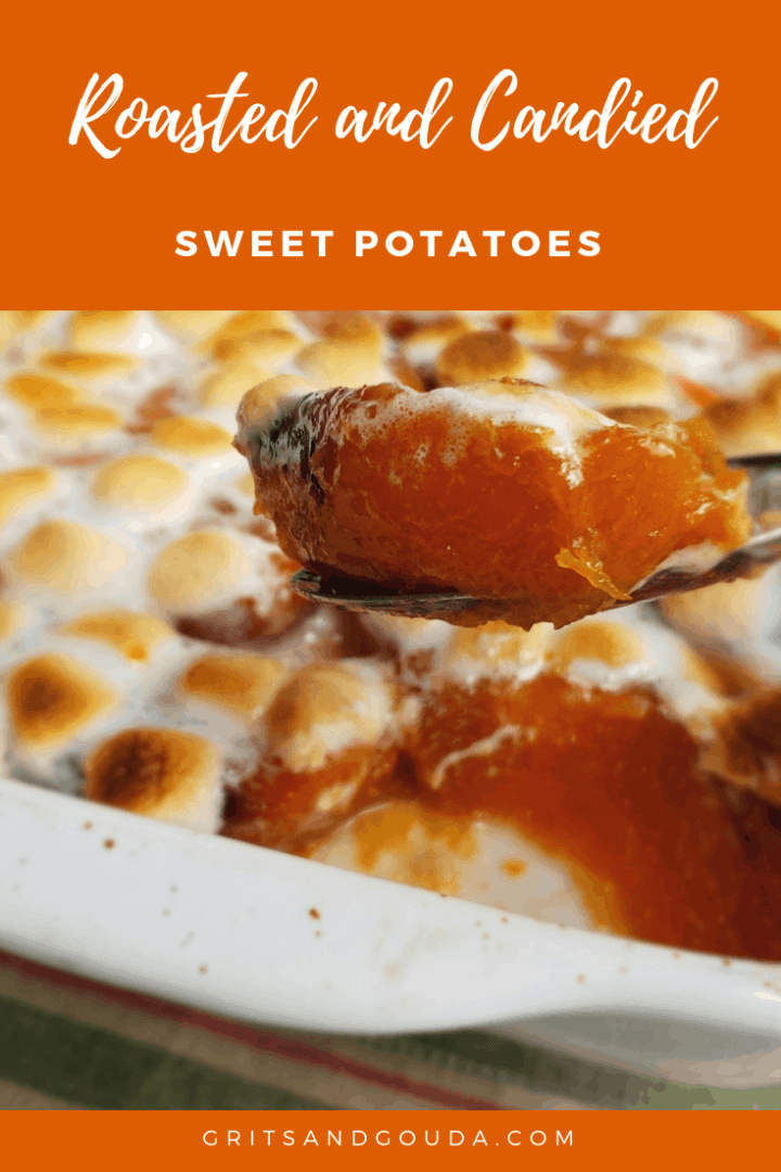 candied sweet potatoes with toasted mini marshmallow Pinterest pin