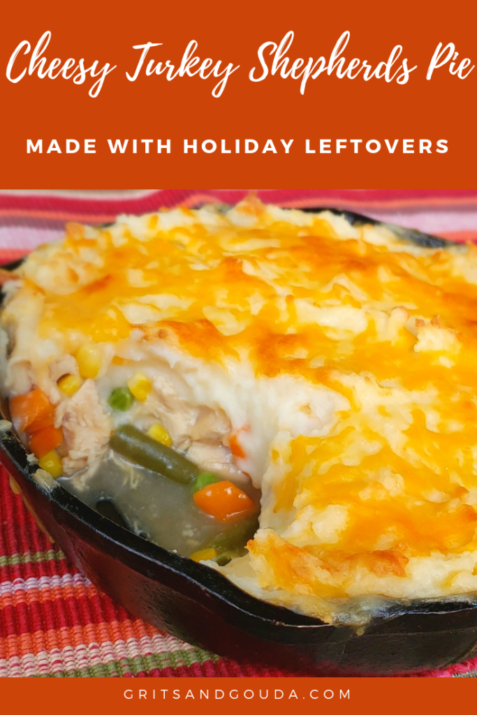 Shepherds Pie made with leftover Thanksgiving turkey vegetables and gravy. Made in a cast iron skillet with multi colored cloth Pinterest Pin