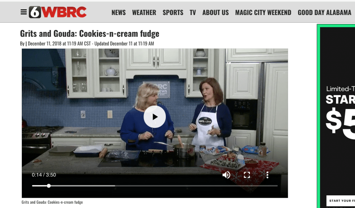 Kathleen Phillips food blogger and host Janice Rogers making Cookies n Cream White Chocolate Fudge on WBRC Good Day Alabama morning show. Food Gifts from the kitchen.