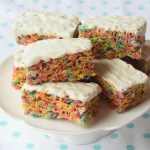 These Fruity Marshmallow Cereal Treats are a colorful twist to the oldie but goodie Rice Krispy Treats.