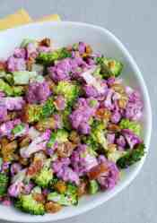 Broccoli Raisin and Purple Cauliflower Salad Pinterest pin