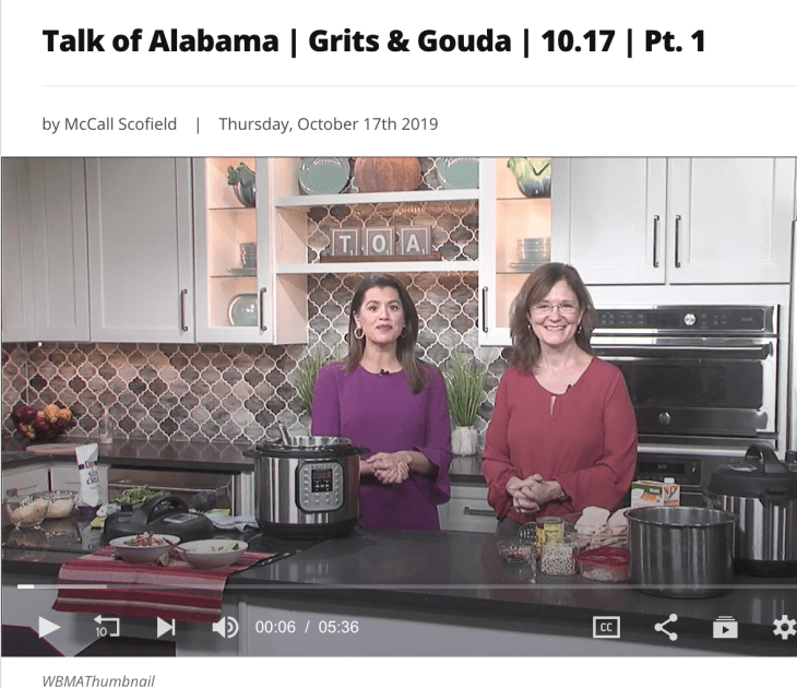 ABC 33/40 Talk of Alabama segment Instant Pot White Bean and Chicken Chili with Erika Lopez and Kathleen Phillips