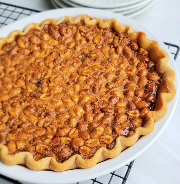 Baked whole peanut pie