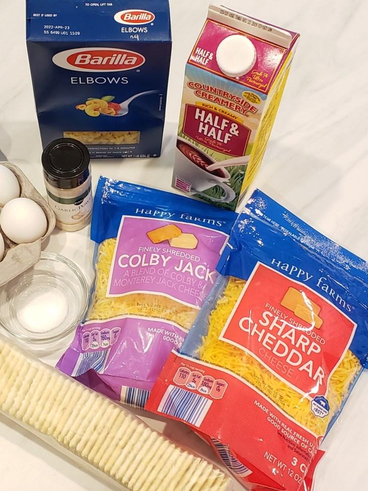 colby jack cheddar cheese elbow macaroni box half and half saltine crackers
