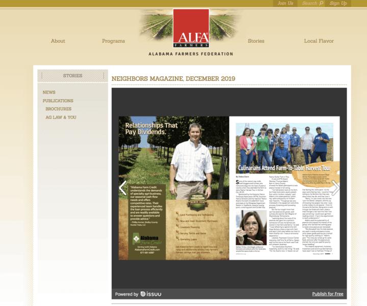 screenshot of ALFA magazine