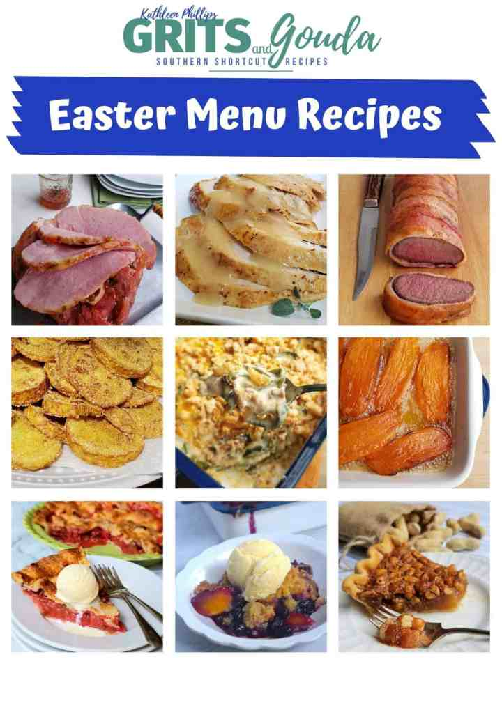 Easter menu grid of 9 recipes