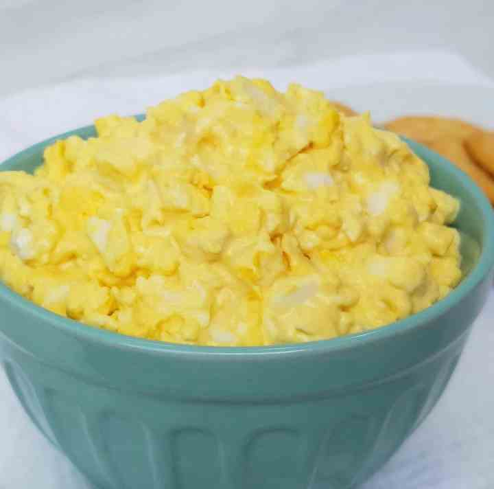 Egg salad in a turquoise bowl