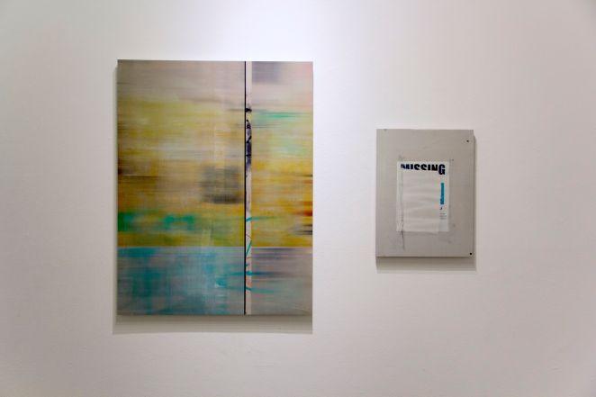 "Jacob Lunderby, Untitled (201518), Inkjet print on mylar, enamel on panel, 42.5"" x 32.5"", 2015 / Untitled (201507), Inkjet print on mylar, enamel on panel, 21.5"" x 16.5"", 2015"