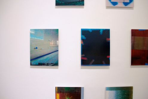 "Jacob Lunderby, Untitled (201602), Inkjet print on mylar, enamel on panel, 16.5"" x 13"", 2016 / Untitled (201601) Inkjet print on mylar, enamel on panel, 16.5"" x 13"", 2016"