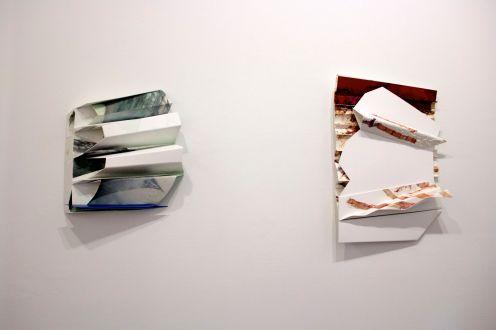"Martha MacLeish, Untitled, Mixed media on pvc plastic, 16""Wx 17""H x 4""D, 2016 / Untitled, Mixed media on pvc and acrylic plastic, 16""W x 24""H x 4""D, 2016"