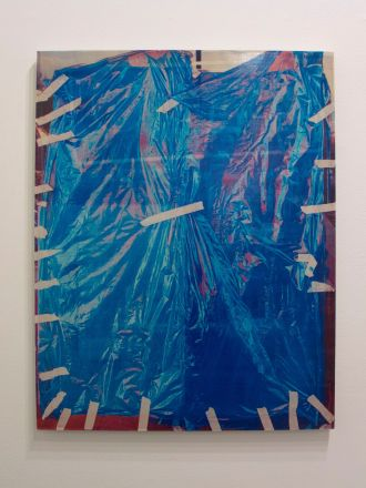 "Jacob Lunderby, Untitled (201608), Inkjet print on mylar, enamel on panel, 32.5"" x 25.5"", 2016"