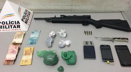 Trio detido com arma, munições, maconha, balança de precisão e dinheiro no Santos Dumont