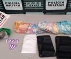 Trio flagrado com maconha, cocaína, dinheiro e celulares no Bairro Prefeito Walter Martins Ferreira